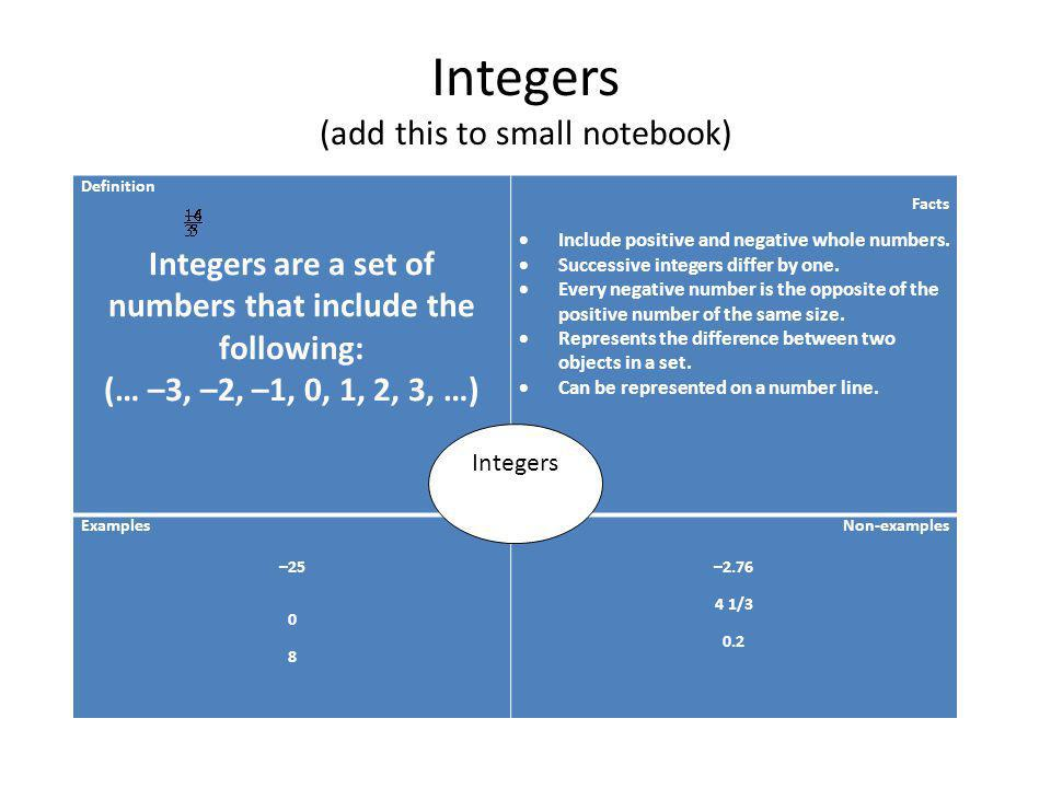 Integers (add this to small notebook) Definition Integers are a set of numbers that include the following: (… –3, –2, –1, 0, 1, 2, 3, …) Facts Include