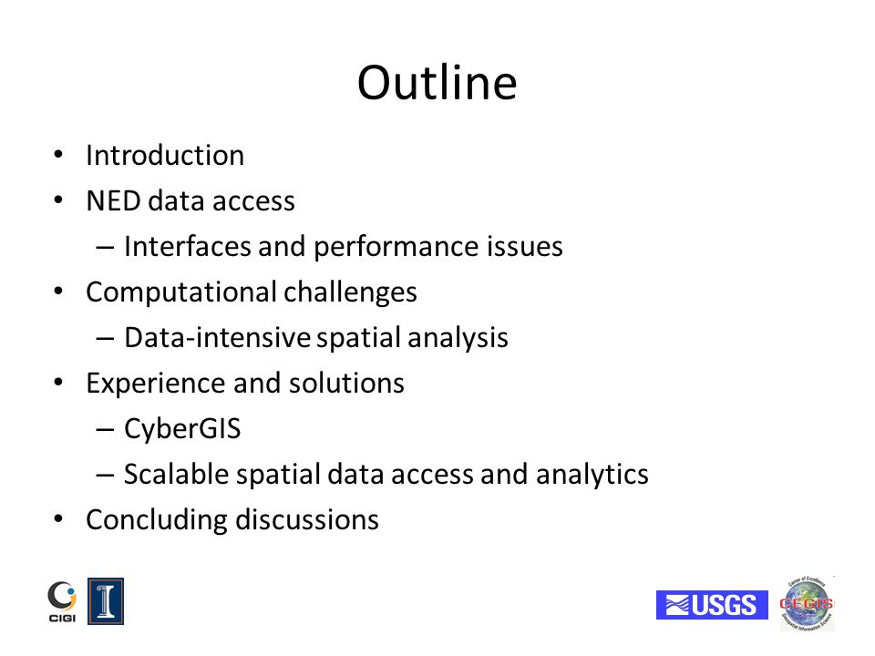 Outline Introduction NED data access – Interfaces and performance issues Computational challenges – Data-intensive spatial analysis Experience and sol