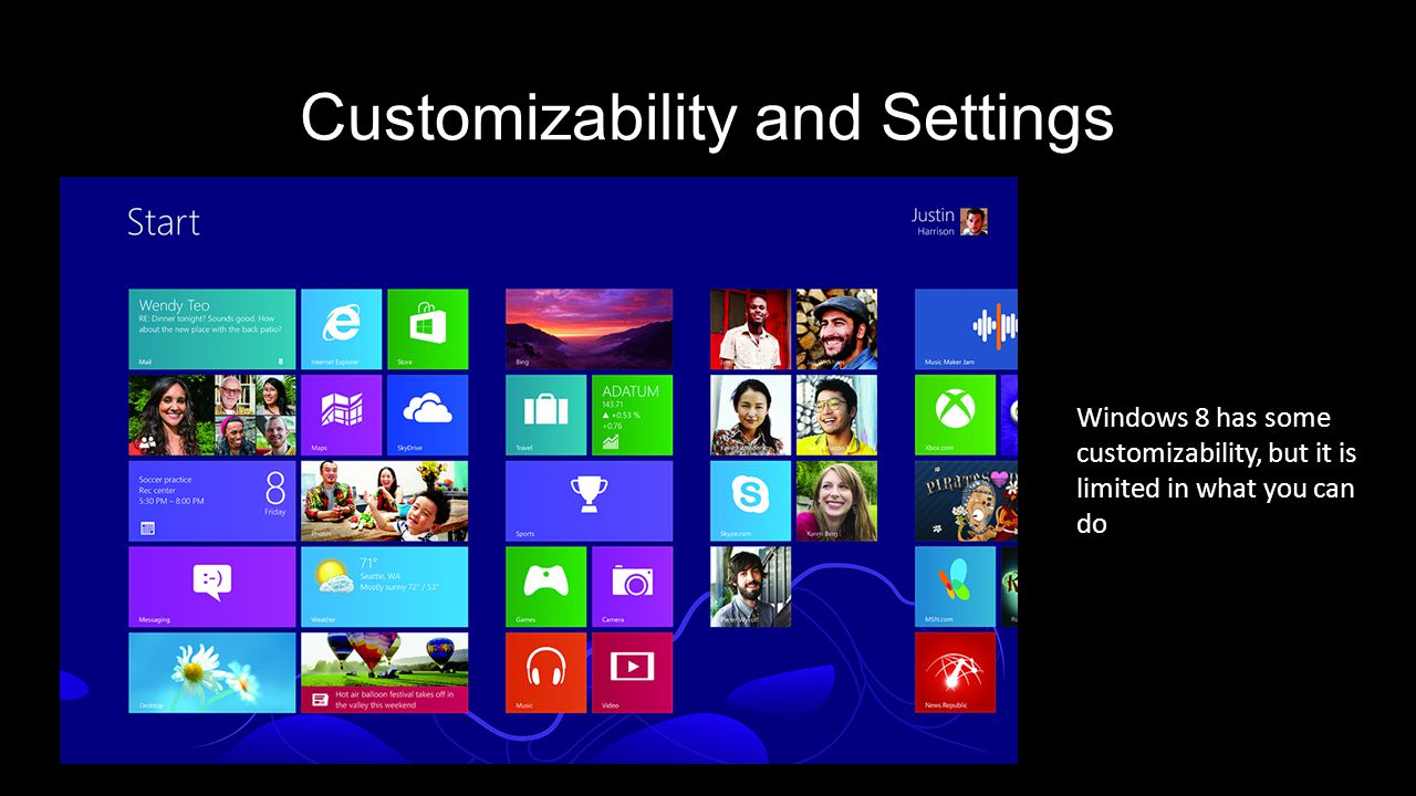 Customizability and Settings Windows 8 has some customizability, but it is limited in what you can do