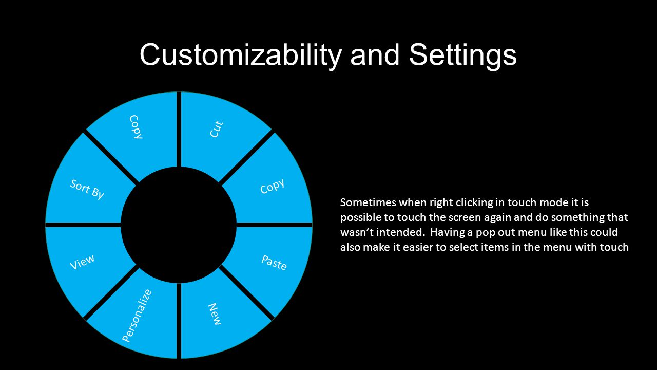 Customizability and Settings Cut Sort By Copy Paste View New Personalize Copy Sometimes when right clicking in touch mode it is possible to touch the