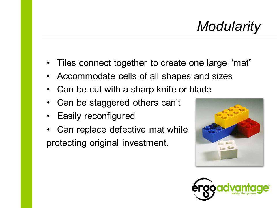 Modularity Tiles connect together to create one large mat Accommodate cells of all shapes and sizes Can be cut with a sharp knife or blade Can be staggered others cant Easily reconfigured Can replace defective mat while protecting original investment.