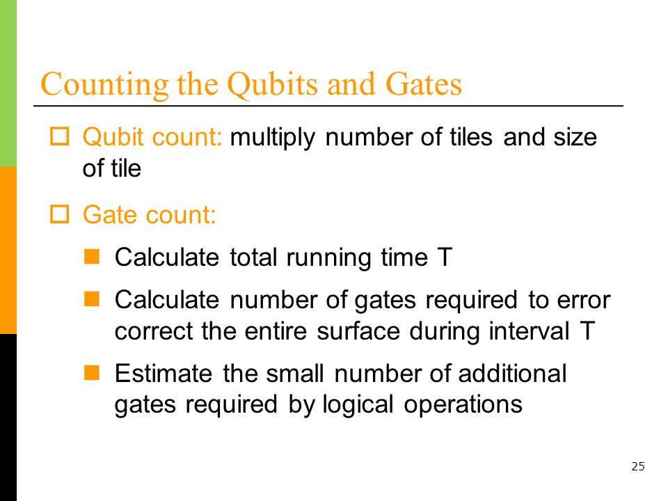 25 Counting the Qubits and Gates Qubit count: multiply number of tiles and size of tile Gate count: Calculate total running time T Calculate number of gates required to error correct the entire surface during interval T Estimate the small number of additional gates required by logical operations