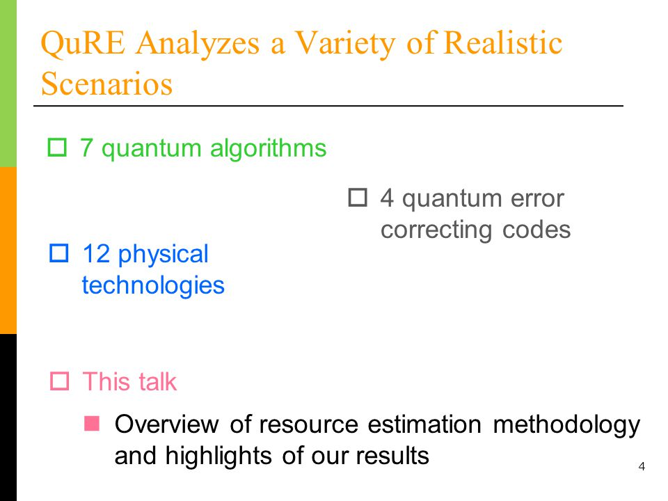 4 QuRE Analyzes a Variety of Realistic Scenarios 7 quantum algorithms 12 physical technologies 4 quantum error correcting codes This talk Overview of resource estimation methodology and highlights of our results