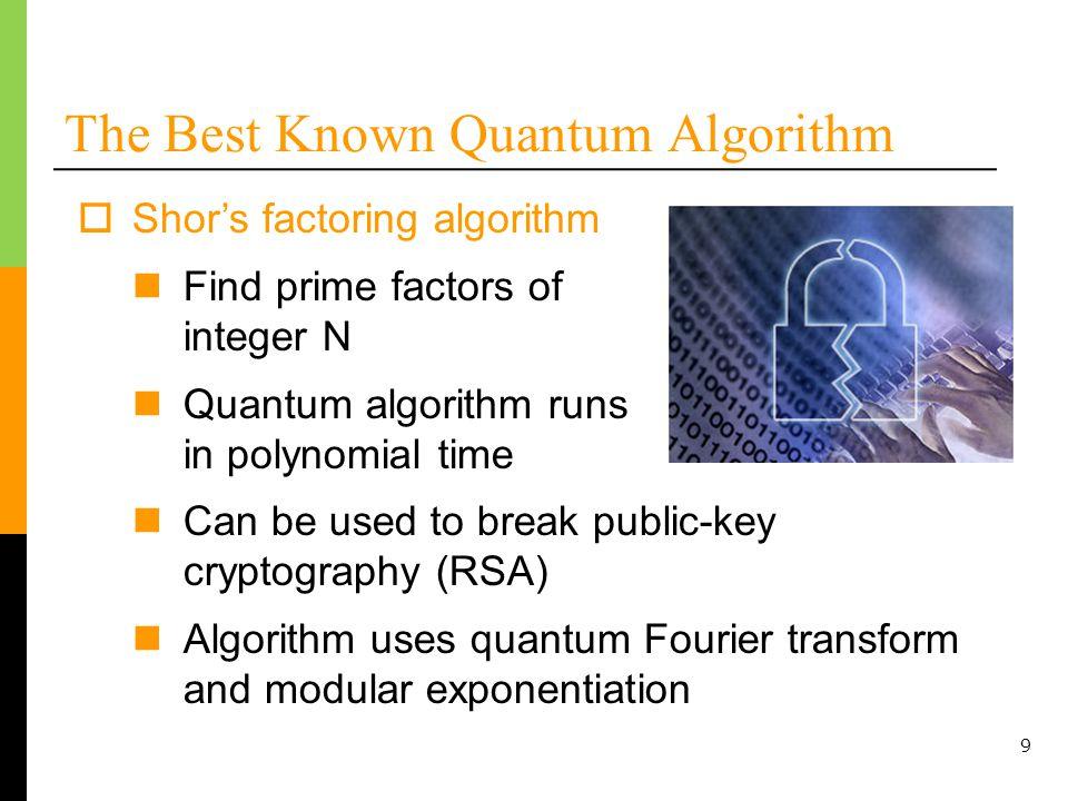 10 Shors Factoring Algorithm – Logical Gate Count Algorithm needs approximately 1.68 x 10 8 Toffoli gates and 6,144 logical qubits (Jones et al., 2012) Factor a 1024-bit number