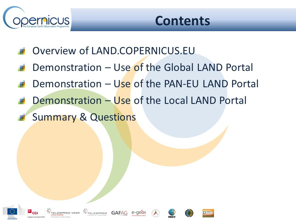 Principles for Access A single entry point to access products Internet access: http://land.copernicus.eu/global http://land.copernicus.eu/global Product download through two channels Internet Access to the full archive and near real time products/services (NRT) Intermediate use of Geoland2 (FP7) portal + DevCoCast website Planned for 2014: dedicated COPERNICUS Global Land portal Broadcast (EUMETCast for Africa and South-America) Near Real Time products/services Data Policy: Free full and open product access Anonymous query Easy and simple registration form for access (automated process)