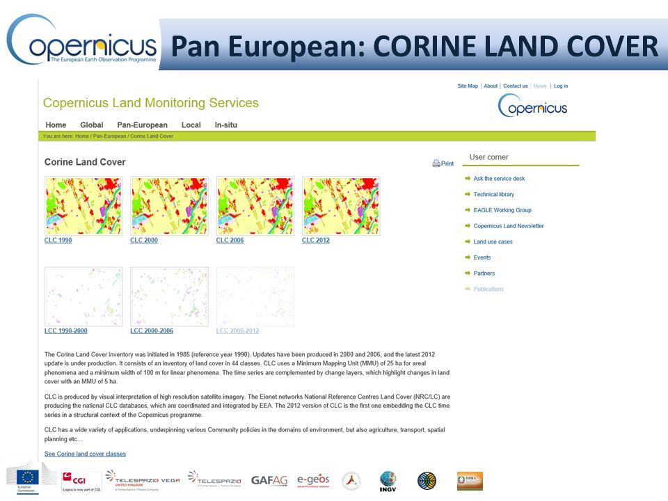 Pan European: CORINE LAND COVER