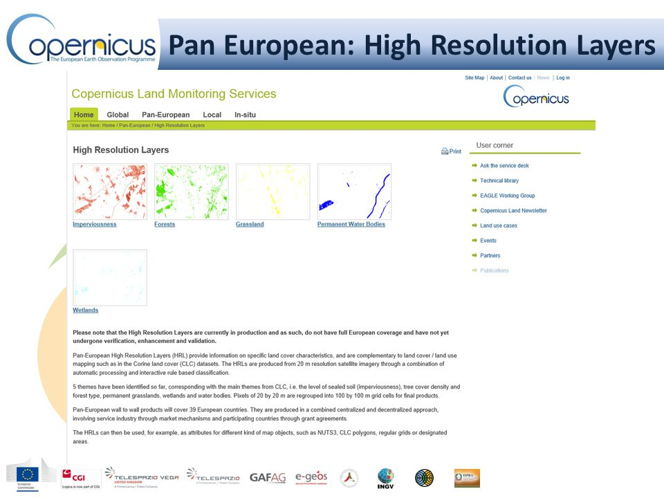 Pan European: High Resolution Layers