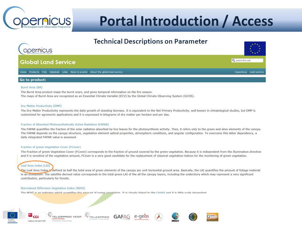 Portal Introduction / Access Technical Descriptions on Parameter
