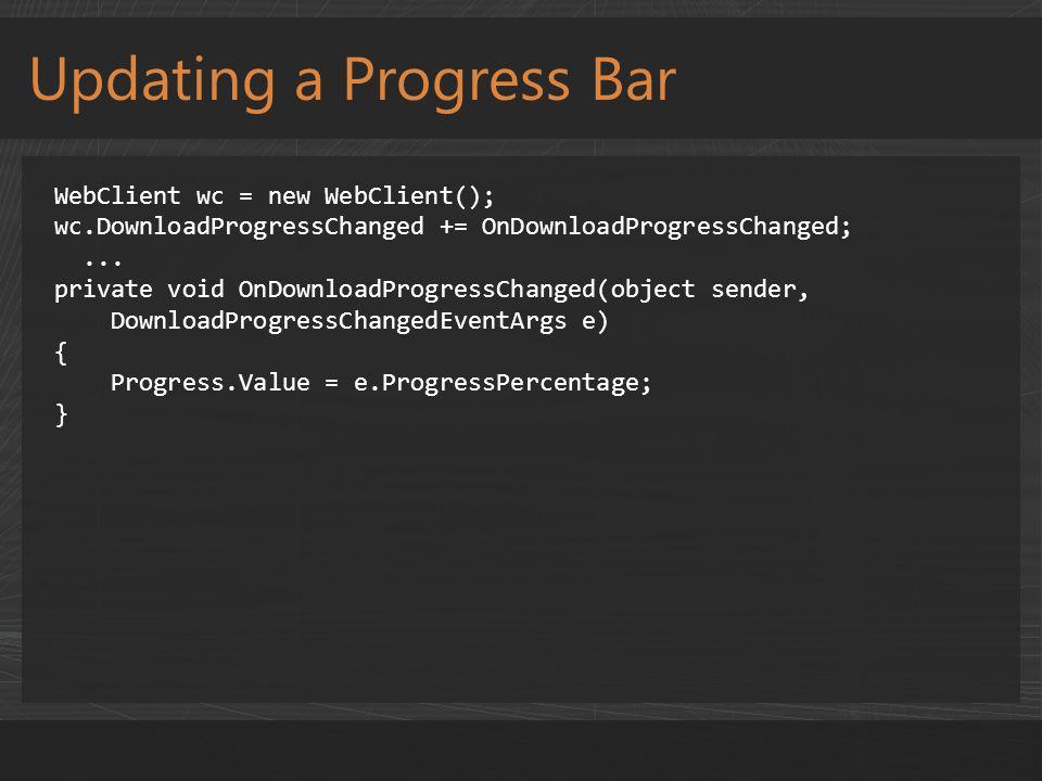 Sending a Tile Notification HttpWebRequest request = HttpWebRequest.Create(uri) as HttpWebRequest; request.Method = WebRequestMethods.Http.Post; request.ContentType = text/xml ; request.Headers[ X-WindowsPhone-Target ] = token ; request.Headers.Add( X-NotificationClass , 1 ); // Send immediately using (Stream stream = request.GetRequestStream()) { byte[] payload = Encoding.UTF8.GetBytes (String.Format(_template, imageuri, count, title)) request.ContentLength = payload.Length; stream.Write(payload, 0, payload.Length); } HttpWebResponse response = request.GetResponse() as HttpWebResponse;