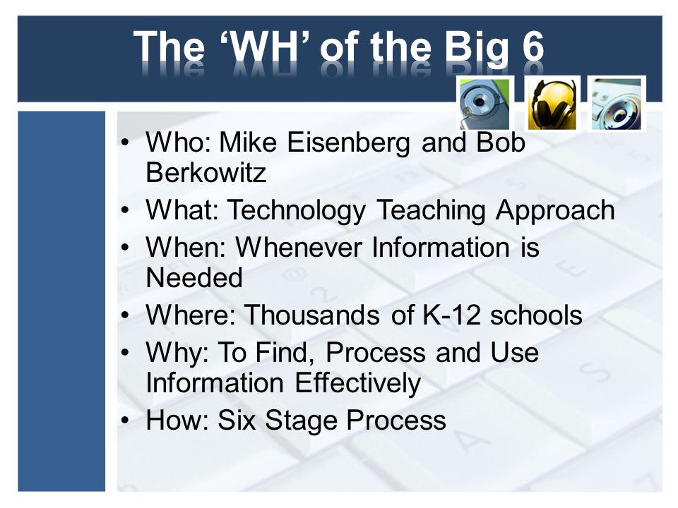 Who: Mike Eisenberg and Bob Berkowitz What: Technology Teaching Approach When: Whenever Information is Needed Where: Thousands of K-12 schools Why: To