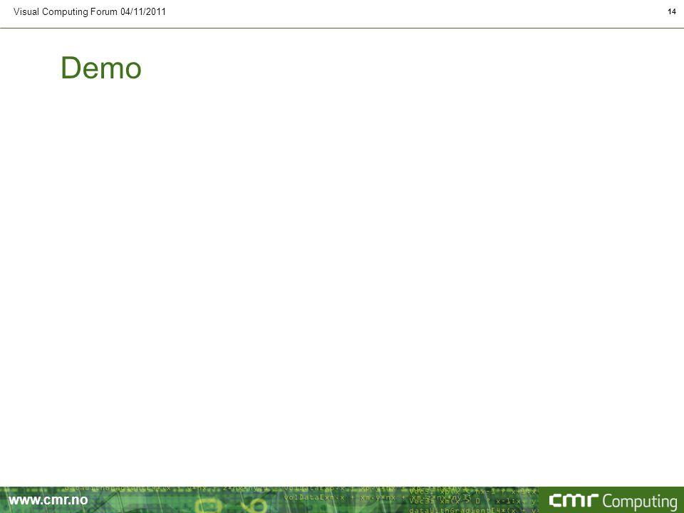 www.cmr.no Demo Visual Computing Forum 04/11/2011 14