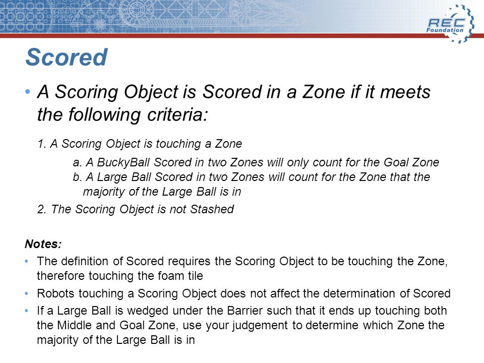 Scored A Scoring Object is Scored in a Zone if it meets the following criteria: 1.