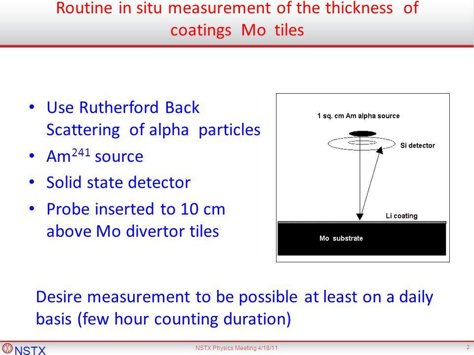 NSTX NSTX Physics Meeting 4/18/11 2 Routine in situ measurement of the thickness of coatings Mo tiles Use Rutherford Back Scattering of alpha particles Am 241 source Solid state detector Probe inserted to 10 cm above Mo divertor tiles Desire measurement to be possible at least on a daily basis (few hour counting duration)