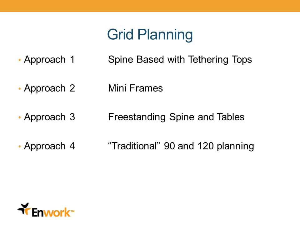 Grid Planning Approach 1Spine Based with Tethering Tops Approach 2Mini Frames Approach 3Freestanding Spine and Tables Approach 4Traditional 90 and 120 planning