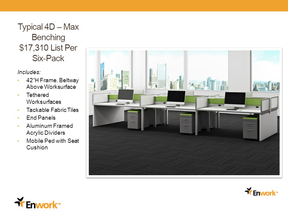 Typical 4D – Max Benching $17,310 List Per Six-Pack Includes: 42H Frame, Beltway Above Worksurface Tethered Worksurfaces Tackable Fabric Tiles End Panels Aluminum Framed Acrylic Dividers Mobile Ped with Seat Cushion 26