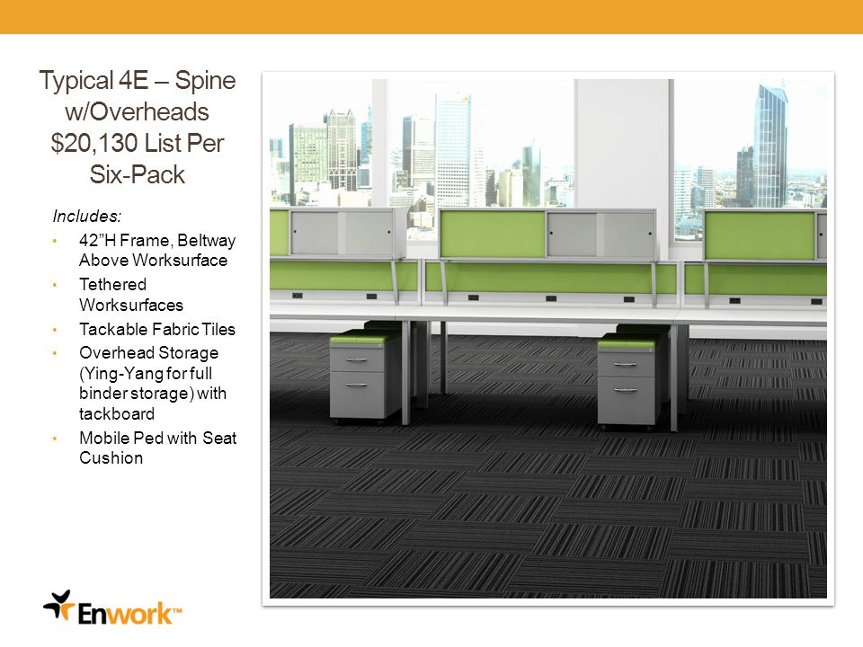 Typical 4E – Spine w/Overheads $20,130 List Per Six-Pack Includes: 42H Frame, Beltway Above Worksurface Tethered Worksurfaces Tackable Fabric Tiles Overhead Storage (Ying-Yang for full binder storage) with tackboard Mobile Ped with Seat Cushion 29
