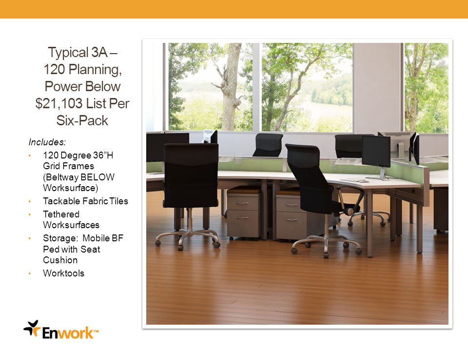 Typical 3A – 120 Planning, Power Below $21,103 List Per Six-Pack Includes: 120 Degree 36H Grid Frames (Beltway BELOW Worksurface) Tackable Fabric Tiles Tethered Worksurfaces Storage: Mobile BF Ped with Seat Cushion Worktools 31