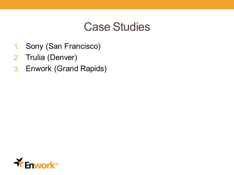 Case Studies 1. Sony (San Francisco) 2. Trulia (Denver) 3. Enwork (Grand Rapids)