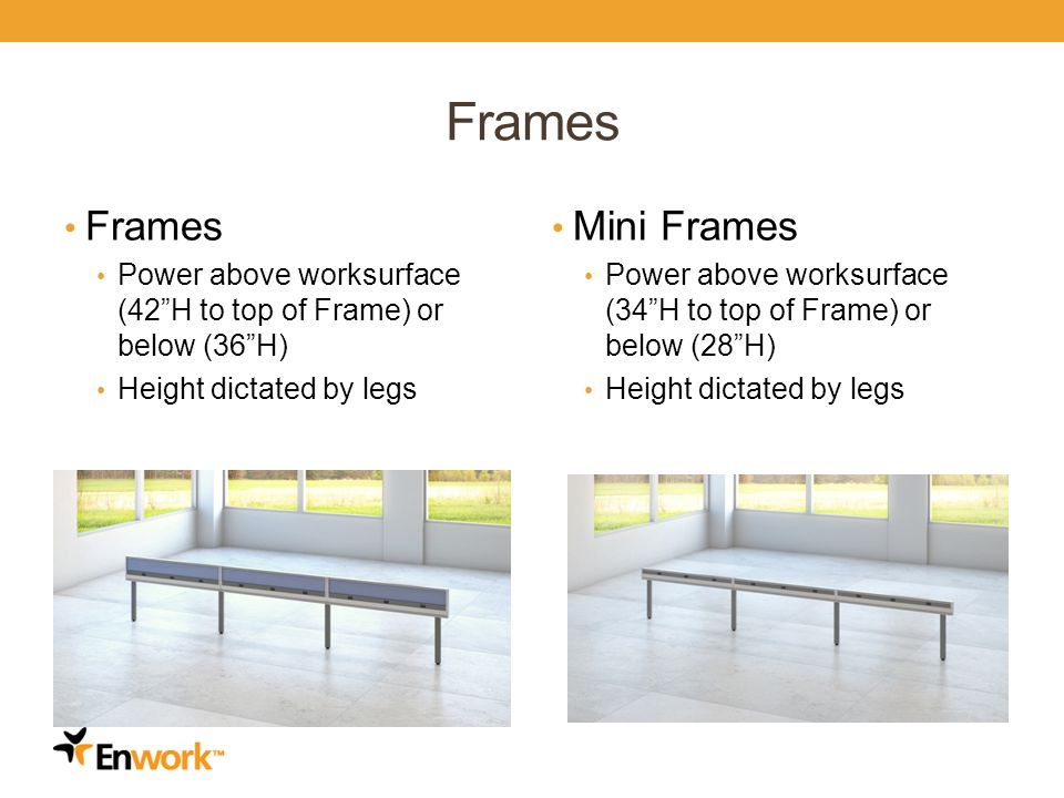 Frames Power above worksurface (42H to top of Frame) or below (36H) Height dictated by legs Mini Frames Power above worksurface (34H to top of Frame) or below (28H) Height dictated by legs 6