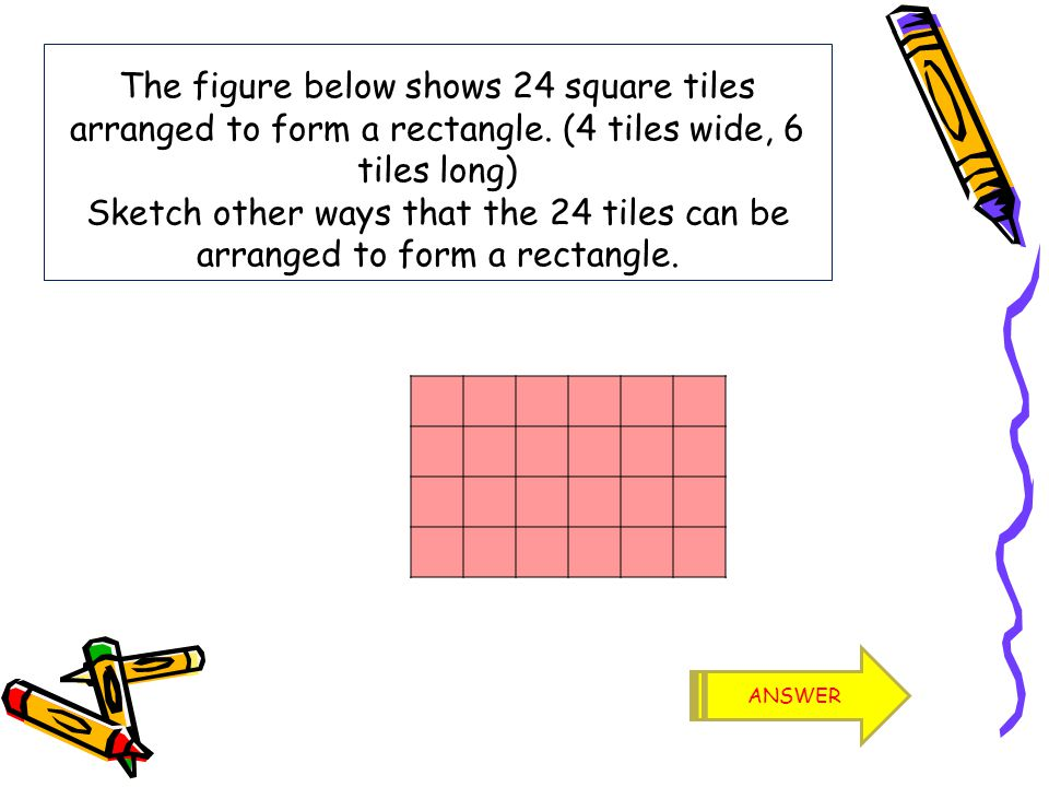 If you notice each rectangle has an area of 24, which includes (4 x 6, 3 x 8, 2 x 12, 1 x 24).