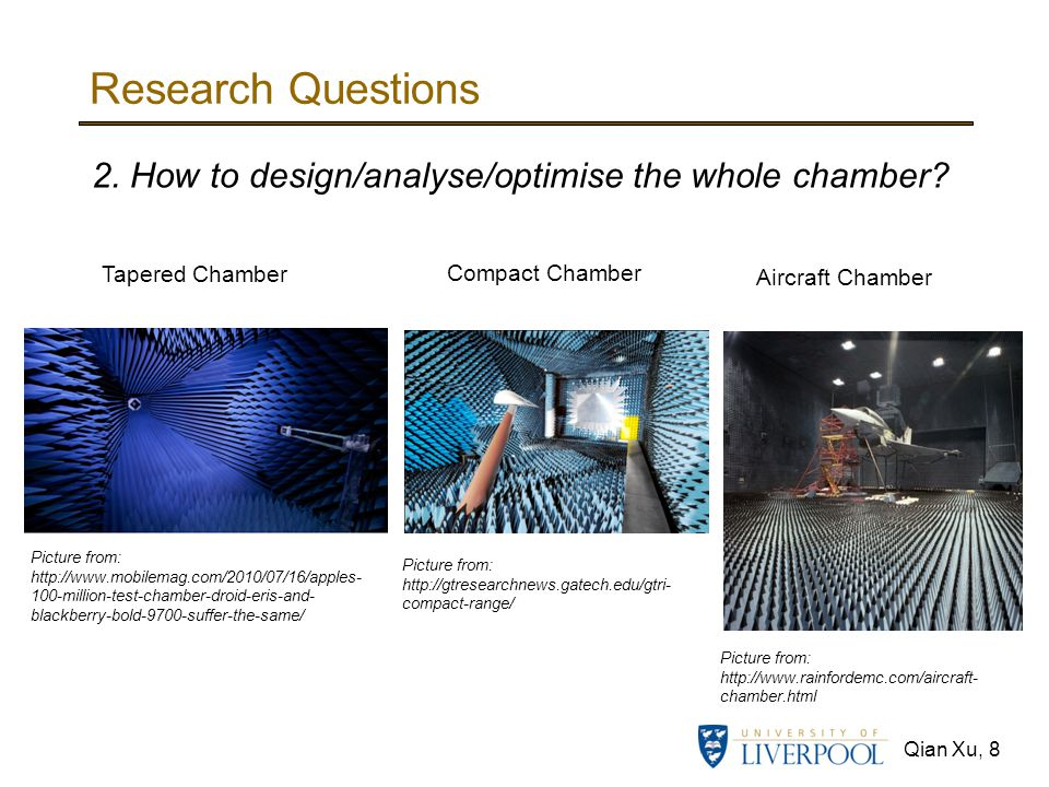 Qian Xu, 8 Research Questions Picture from: http://www.rainfordemc.com/aircraft- chamber.html 2. How to design/analyse/optimise the whole chamber? Pic