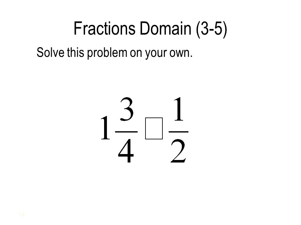 Fractions Domain (3-5) Solve this problem on your own. 14
