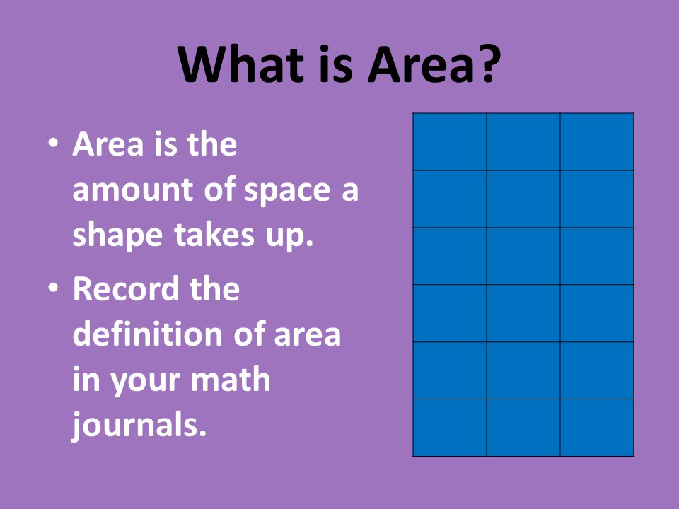 What is Area.Area is the amount of space a shape takes up.