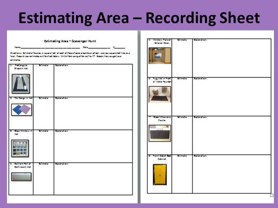Estimating Area – Recording Sheet
