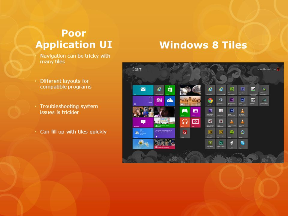Poor Application UI Navigation can be tricky with many tiles Different layouts for compatible programs Troubleshooting system issues is trickier Can fill up with tiles quickly Windows 8 Tiles
