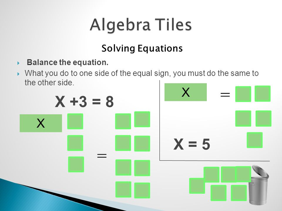 Solving Equations Balance the equation.