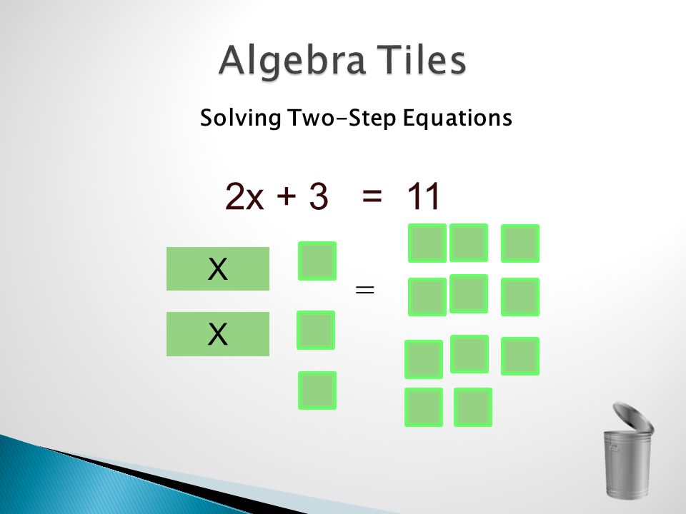 Solving Two-Step Equations 2x + 3 = 11 X = X