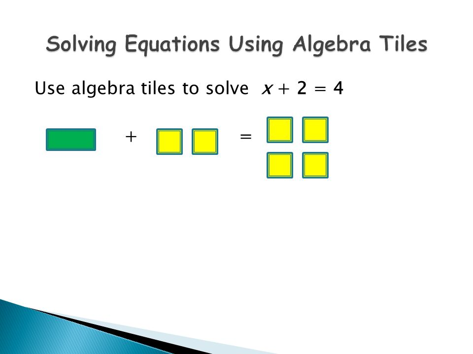 Use algebra tiles to solve x + 2 = 4 + =