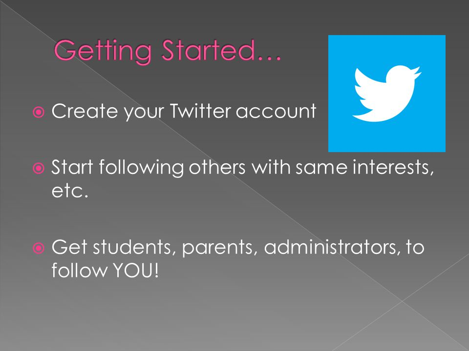 Create your Twitter account Start following others with same interests, etc.