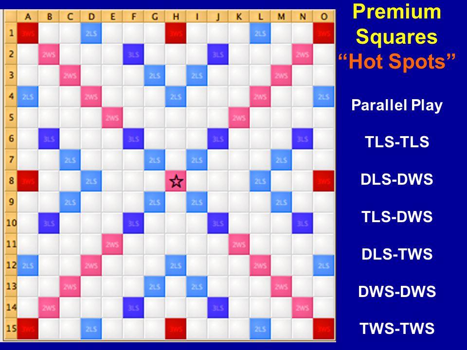 Premium Squares Hot Spots Parallel Play TLS-TLS DLS-DWS TLS-DWS DLS-TWS DWS-DWS TWS-TWS