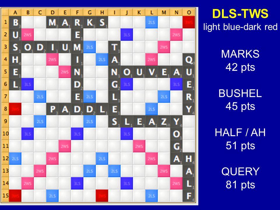 DLS-TWS light blue-dark red MARKS 42 pts BUSHEL 45 pts HALF / AH 51 pts QUERY 81 pts