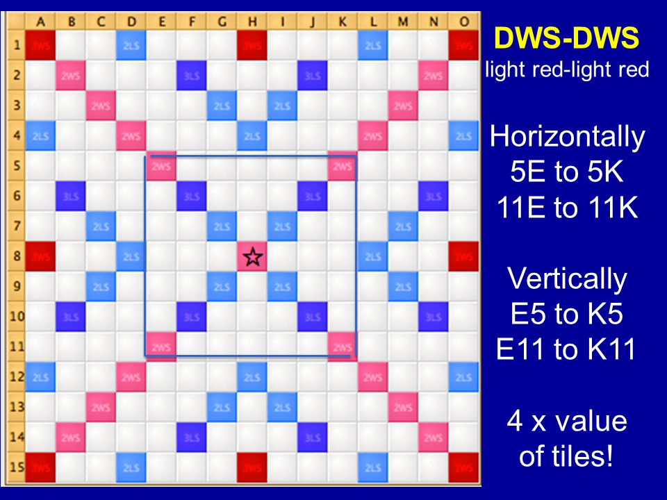 DWS-DWS light red-light red Horizontally 5E to 5K 11E to 11K Vertically E5 to K5 E11 to K11 4 x value of tiles!