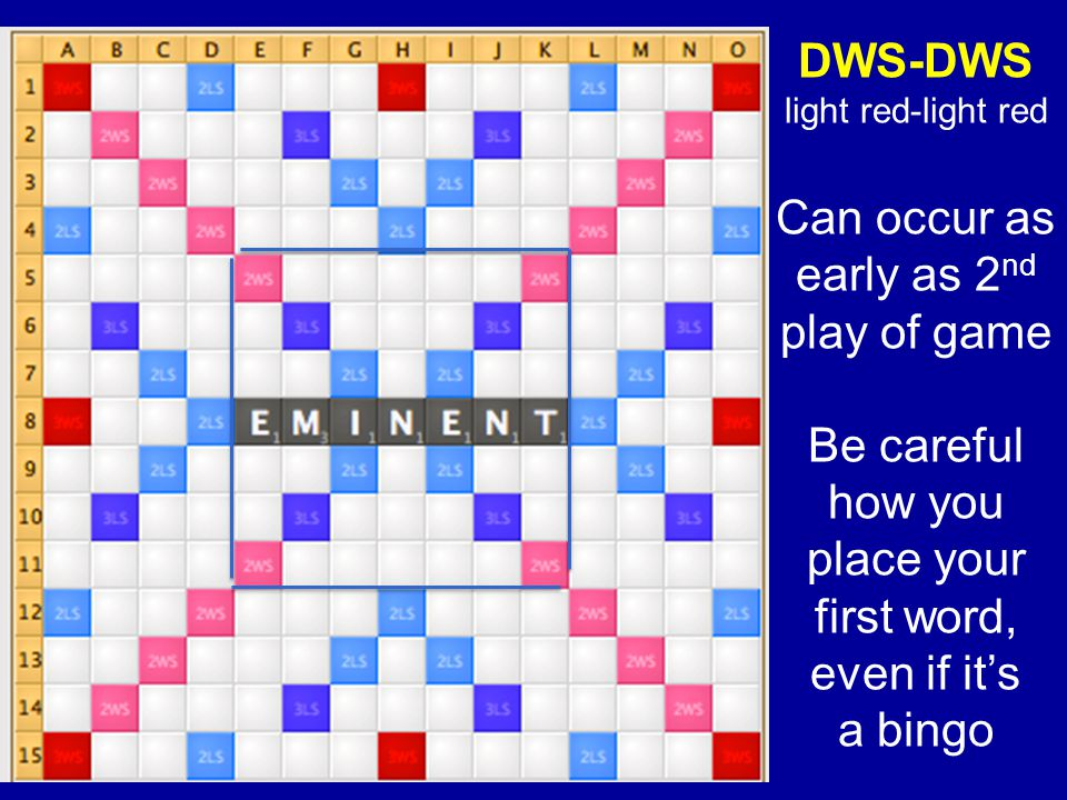 DWS-DWS light red-light red Can occur as early as 2 nd play of game Be careful how you place your first word, even if its a bingo