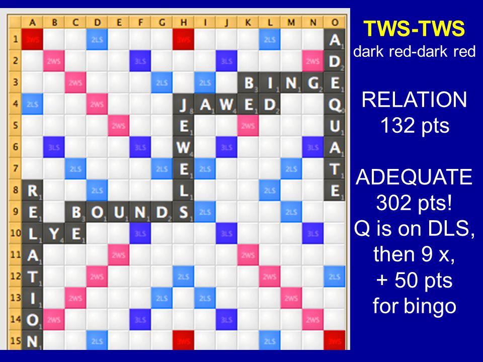 TWS-TWS dark red-dark red RELATION 132 pts ADEQUATE 302 pts! Q is on DLS, then 9 x, + 50 pts for bingo