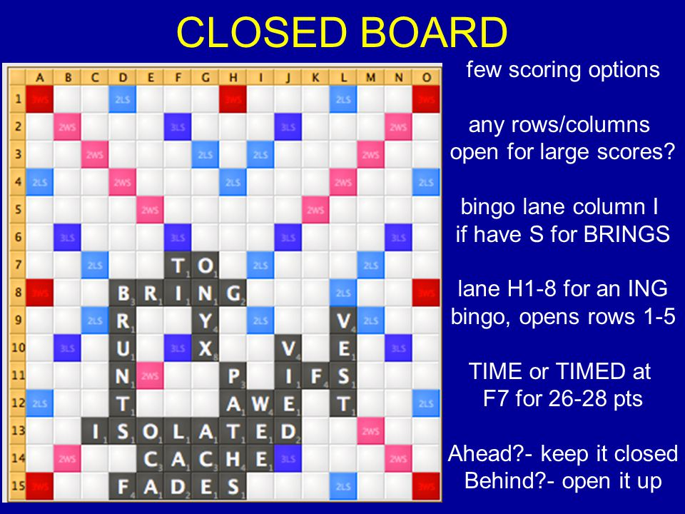 CLOSED BOARD few scoring options any rows/columns open for large scores.