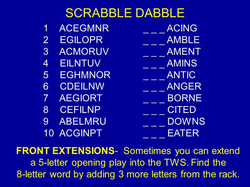 SCRABBLE DABBLE 1 ACEGMNR_ _ _ ACING 2 EGILOPR_ _ _ AMBLE 3 ACMORUV_ _ _ AMENT 4 EILNTUV_ _ _ AMINS 5 EGHMNOR_ _ _ ANTIC 6 CDEILNW_ _ _ ANGER 7 AEGIORT_ _ _ BORNE 8 CEFILNP_ _ _ CITED 9 ABELMRU_ _ _ DOWNS 10 ACGINPT_ _ _ EATER FRONT EXTENSIONS- Sometimes you can extend a 5-letter opening play into the TWS.