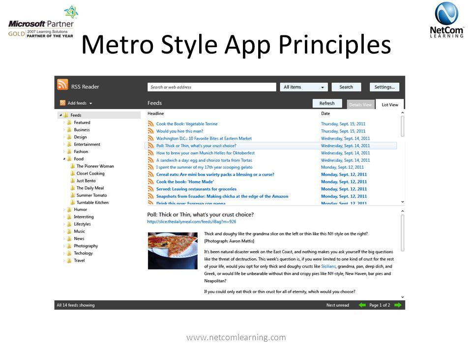Metro Style App Principles www.netcomlearning.com