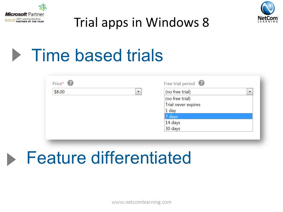 Trial apps in Windows 8 Time based trials Feature differentiated www.netcomlearning.com