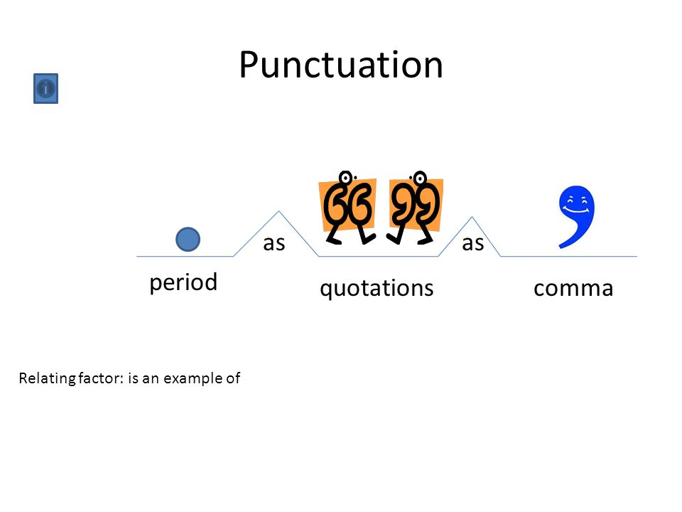 Punctuation period quotationscomma as Relating factor: is an example of