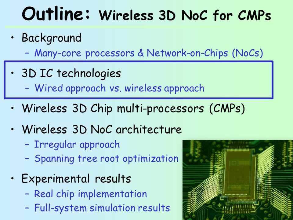 Outline: Wireless 3D NoC for CMPs Background –Many-core processors & Network-on-Chips (NoCs) 3D IC technologies –Wired approach vs.