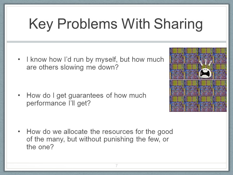 Key Problems With Sharing I know how Id run by myself, but how much are others slowing me down.