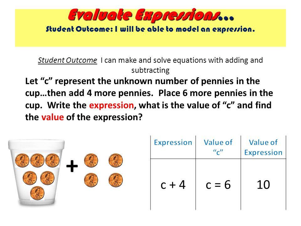 Evaluate Expressions … Evaluate Expressions … Student Outcome: I will be able to model an expression. Student Outcome I can make and solve equations w