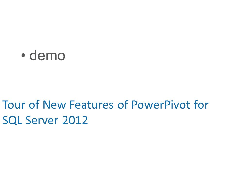 demo Tour of New Features of PowerPivot for SQL Server 2012