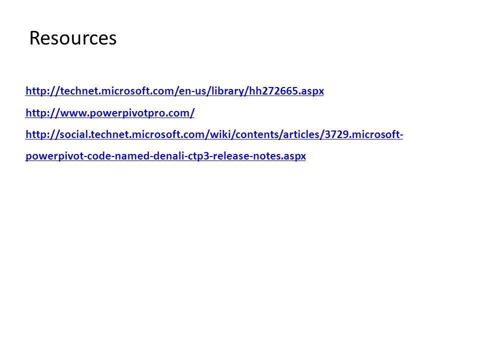 Resources http://technet.microsoft.com/en-us/library/hh272665.aspx http://www.powerpivotpro.com/ http://social.technet.microsoft.com/wiki/contents/art