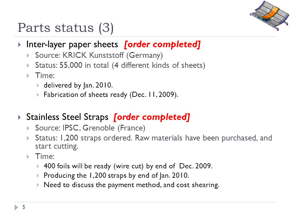 Parts status (3) Inter-layer paper sheets [order completed] Source: KRICK Kunststoff (Germany) Status: 55,000 in total (4 different kinds of sheets) T