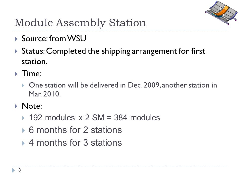 Module Assembly Station Source: from WSU Status: Completed the shipping arrangement for first station. Time: One station will be delivered in Dec. 200